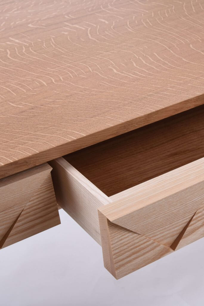 Partially open draw, wood, bespoke furniture