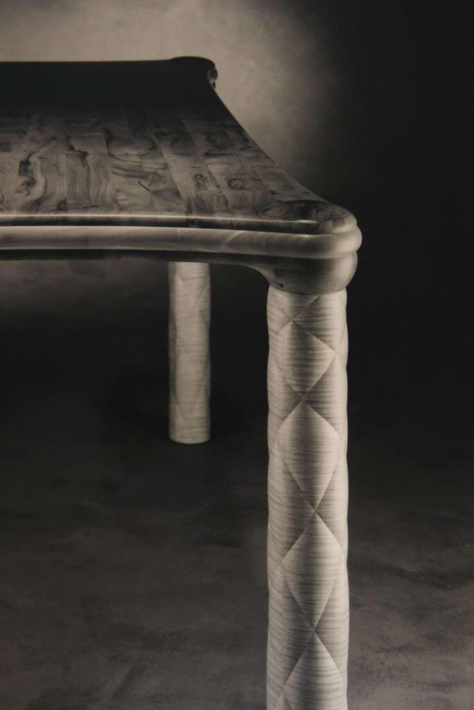 Edge of a table leg, bespoke furniture design