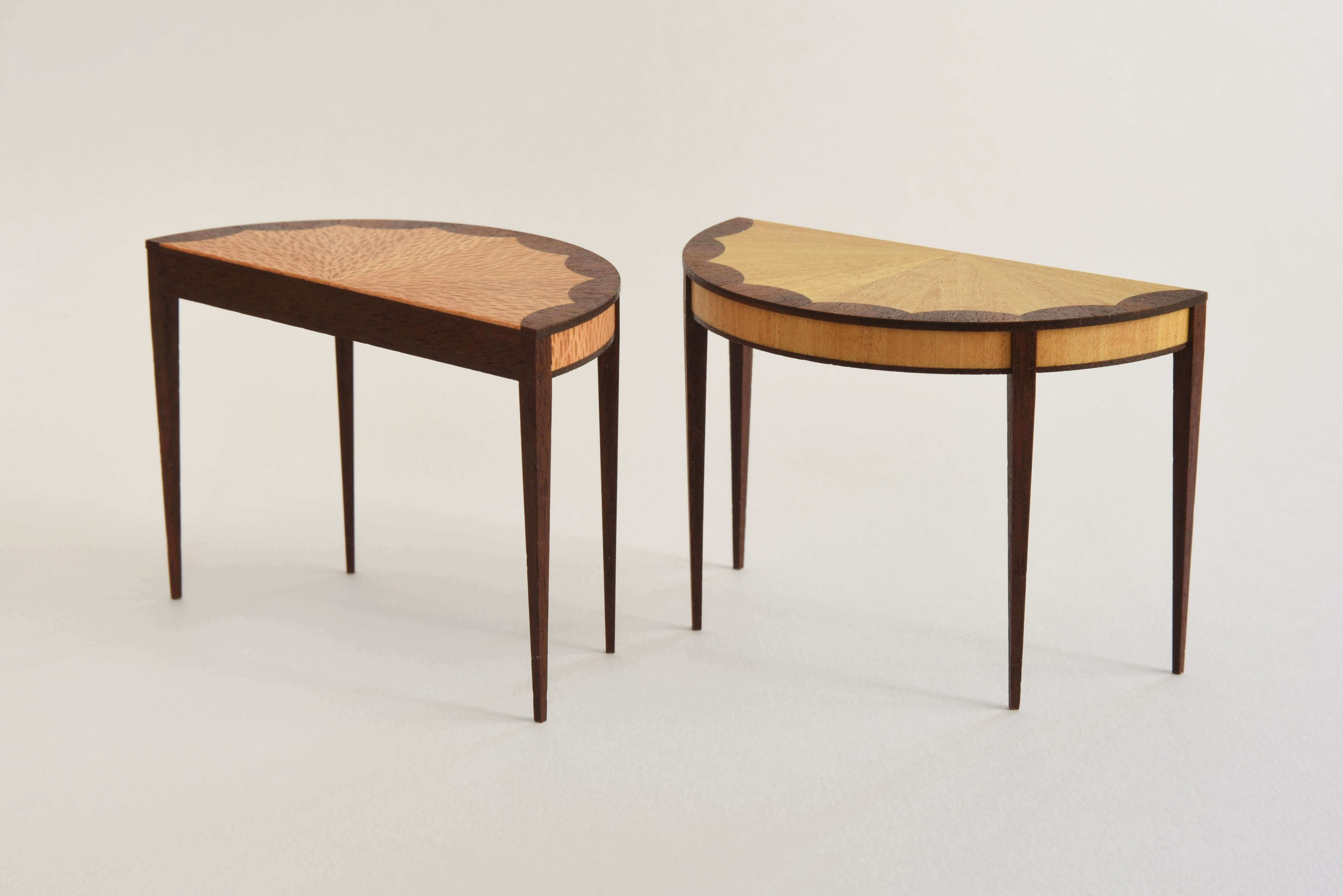One-twelfth scale tables made out of beech and mahogany (left) and satinwood and mahogany (right).